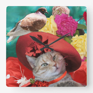 CELEBRITY CAT PRINCESS TATUS WITH RED HAT AND DOVE WALL CLOCKS