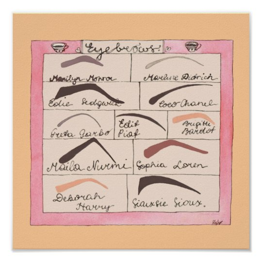 Celebrity Eyebrows ~ Poster / Print