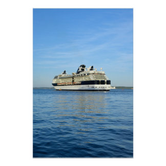 celebrity infinity cruise ship sailing out to sea poster