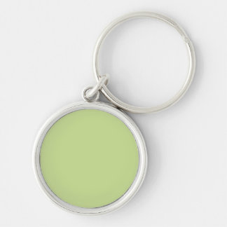 Celery Green Solid Color Silver-Colored Round Key Ring