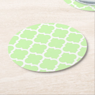 Celery Green White Moroccan Quatrefoil Pattern #5 Round Paper Coaster