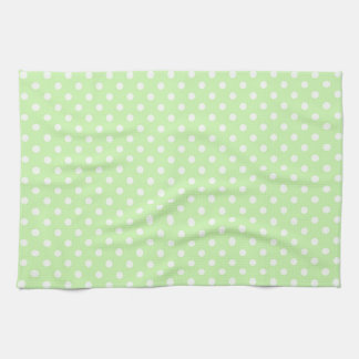 Celery Green White Polka Dot Pattern Tea Towel
