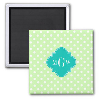 Celery Polka Dot Teal Quatrefoil 3 Monogram Square Magnet