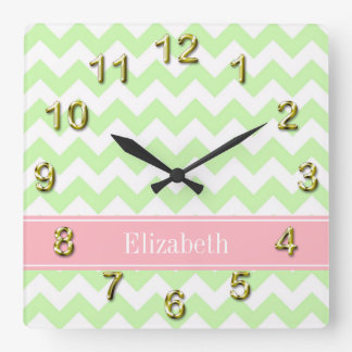 Celery White Chevron Pink Name Monogram Square Wall Clock