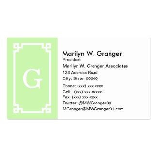 Celery White Greek Key Frame #2 Initial Monogram Business Card Templates