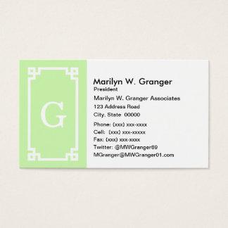 Celery White Greek Key Frame #2 Initial Monogram Business Card