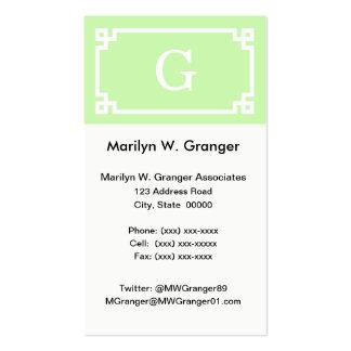Celery White Greek Key Frame #2 Initial Monogram Pack Of Standard Business Cards