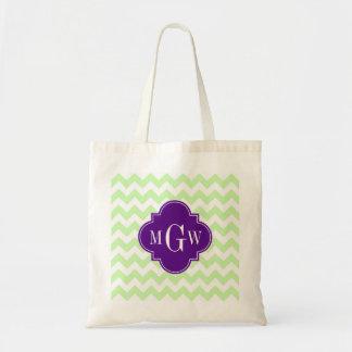 Celery Wht Chevron Purple Quatrefoil 3 Monogram Tote Bag