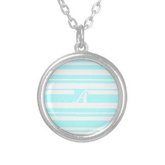 Celeste and White Random Stripes Monogram Necklaces