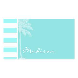 Celeste Horizontal Stripes; Palm Pack Of Standard Business Cards