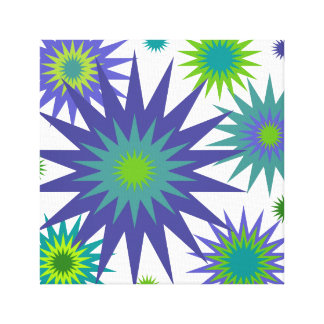 Celestial3 Purple Green Retro Star Abstract Canvas Print