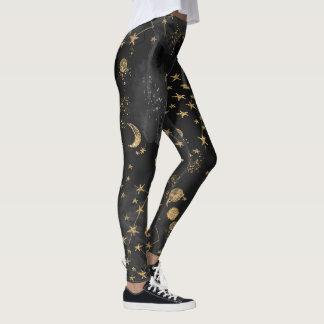 Celestial Black Starry Night Leggings