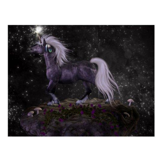 Celestial Black Unicorn Postcard