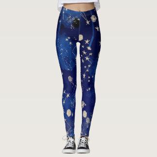 Celestial Blue Starry Night Leggings