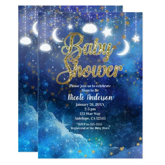 Celestial Fantasy Gold Stars & Glow Baby Shower