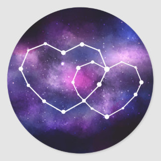 Celestial Galaxy Wedding Hearts Constellation Star Classic Round Sticker