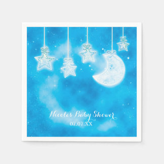 Celestial Glowing Stars & Moon Blue Sky Disposable Serviette
