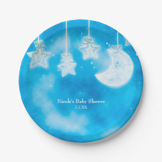 Celestial Glowing Stars & Moon Blue Sky Shower Paper Plate