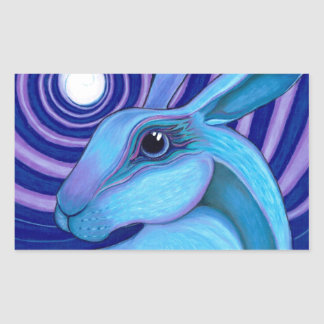 Celestial hare rectangular sticker