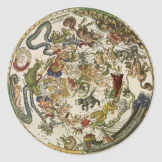 Celestial Map by Peter Apian, Vintage Astronomy Classic Round Sticker