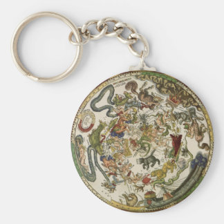 Celestial Map by Peter Apian, Vintage Astronomy Key Ring