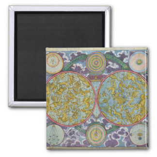 Celestial Map of the Planets Square Magnet