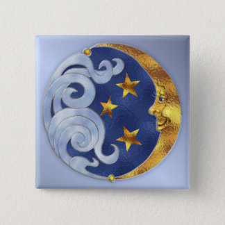 Celestial Moon and Stars 15 Cm Square Badge
