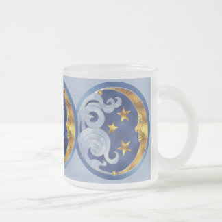 Celestial Moon and Stars Frosted Glass Coffee Mug