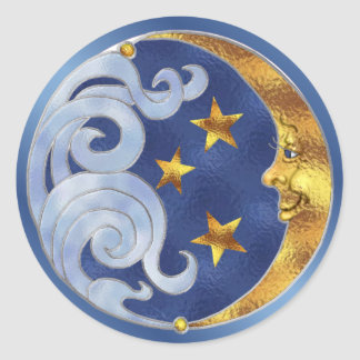Celestial Moon and Stars Round Sticker