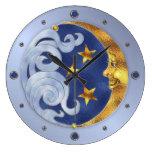 Celestial Moon and Stars Round Wall Clocks