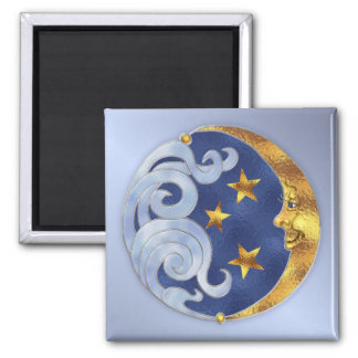 Celestial Moon and Stars Square Magnet