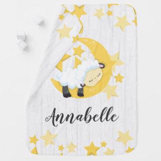 Celestial Moon Stars & Lamb Baby Girl Boy Monogram Baby Blanket