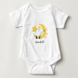 Celestial Moon Stars & Lamb Baby Monogram Baby Bodysuit