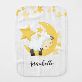 Celestial Moon Stars & Lamb Baby Monogram Burp Cloth