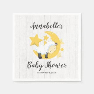 Celestial Moon Stars & Lamb Baby Shower Paper Serviettes