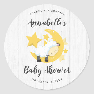 Celestial Moon Stars & Lamb Baby Shower Thank You Classic Round Sticker