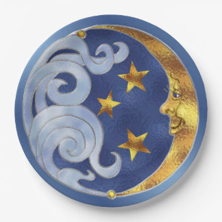 Celestial Moon Stars Stained Glass Paper Plates