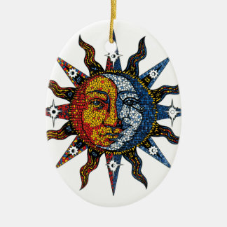 Celestial Mosaic Sun and Moon Christmas Ornament