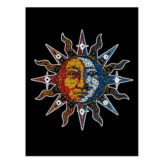 Celestial Mosaic Sun and Moon Postcard