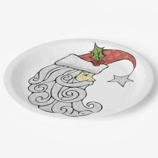 Celestial Santa Paper Plate