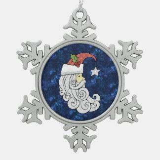Celestial Santa Snowflake Pewter Christmas Ornament
