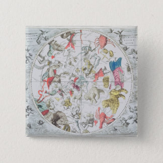 Celestial Showing the Signs of the Zodiac 15 Cm Square Badge