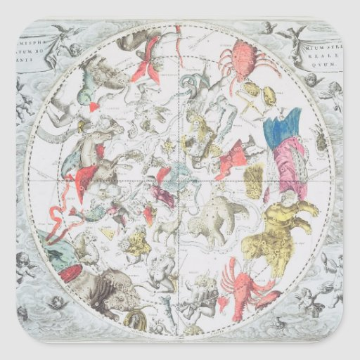 Celestial Showing the Signs of the Zodiac Square Sticker
