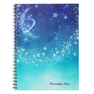 Celestial Sky Moon Sparkle & Stars Watercolor Spiral Notebook