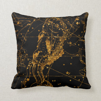 Celestial Star Map Astrological Gold Pisces Fish Cushion