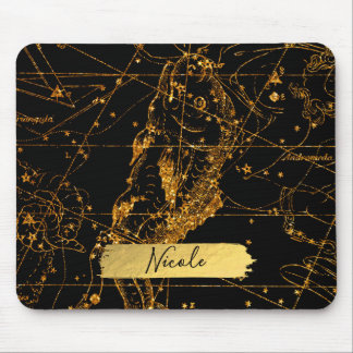 Celestial Star Map Astrological Gold Pisces Fish Mouse Mat