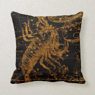 Celestial Star Map Astrological Sign Gold Scorpio Cushion