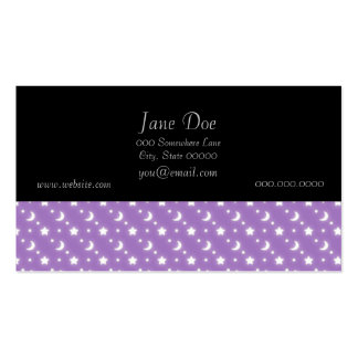 Celestial Stars and Moons on Purple Pattern Pack Of Standard Business Cards