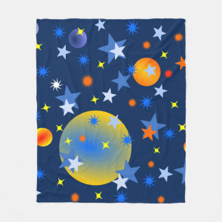 Celestial Stars and Planets Fleece Blanket