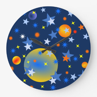 Celestial Stars and Planets Large Clock